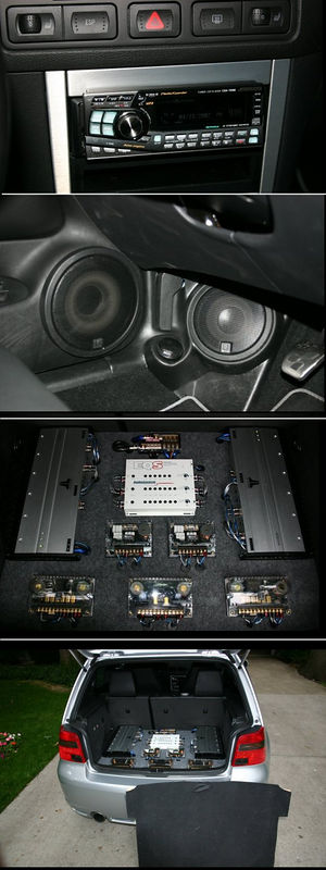 Composite of major system components: Alpine tuner, Q-series front speaker set, amp installation, rear of car with amp cover removed.