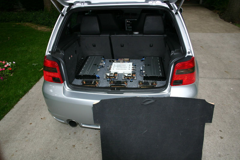 View of system from back of car, stealth cover removed