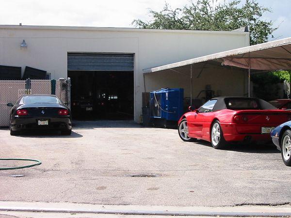 Shelton Ferrari backdoor/service garage.