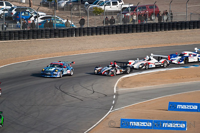 Car #16, Lola B09 86 Mazda(LMP), Dyson/Smith/Meyrick, 15th Overall(Mechanical, 220 Laps) 3rd in Class, Qualifying Time 1:12.338(New Qual. Lap Record), Best Race Lap 1:14.262(New Race Lap Record)  Car #63, Porsche 911 GT3 Cup(GTC), Richard/Villeneuve/Lally, 9th Overall(218 Laps) 5th in Class, Qualifying Time 1:27.797, Best Race Lap 1:27.625  Car #6, Porsche RS Spyder(LMP), Gidley/Graf/Maassen, 2nd Overall(230 Laps) 2nd in Class, Qualifying Time 1:13.855, Best Race Lap 1:15.853  Car #55, Oreca FLM09(LMPC), Tucker/Bouchut/Wilkins, 3rd Overall(229 Laps) 1st in Class, Qualifying Time 1:18.212, Best Race Lap 1:19.343(New Race Lap Record)