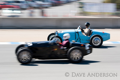 Car #31, 1926 Bugatti Type 35B(2300cc), Peter Giddings(Danville, CA), 2nd Place, Best Race Lap: 02:03.517 (Race Group 4A, Bugatti Grand Prix)  Car #5, 1932 Bugatti Type 51(2262cc), Charles Dean(Aylesbury, Bucks), 1st Place, Best Race Lap: 02:00.562 (Race Group 4A, Bugatti Grand Prix)