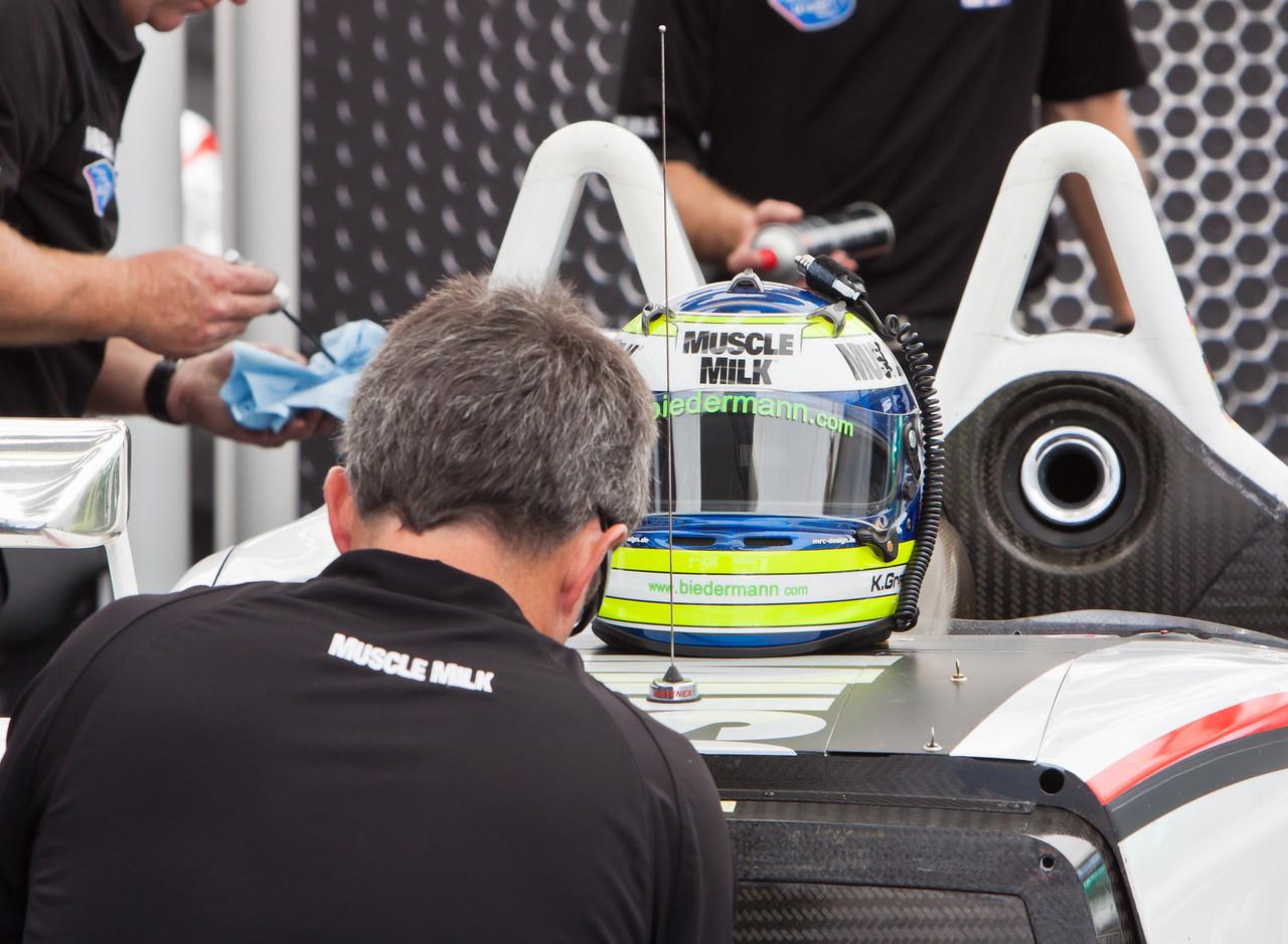 Klaus Graf's Muscle Milk Porsche being readied in paddock