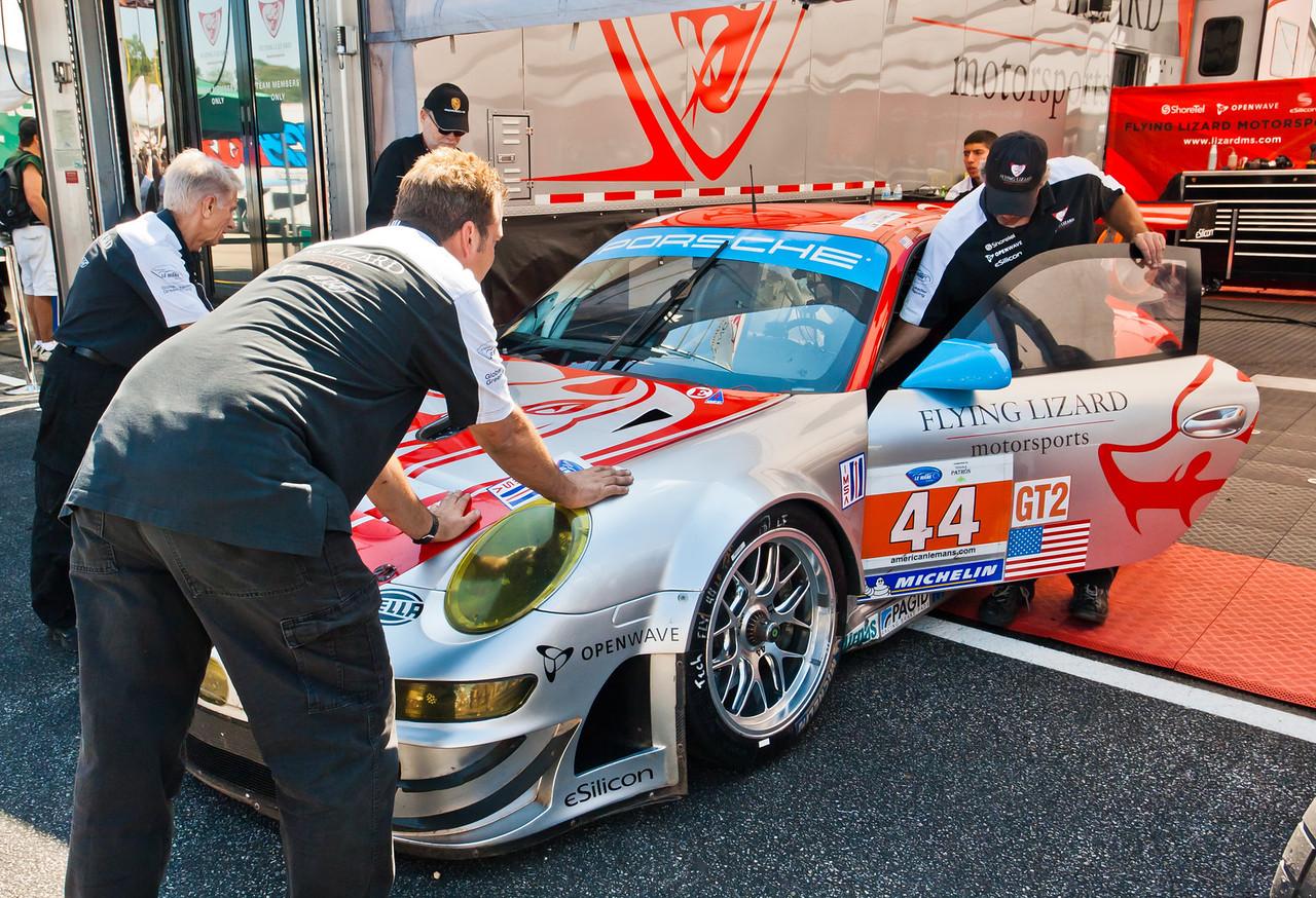 Flying Lizards Porsche Team in paddock