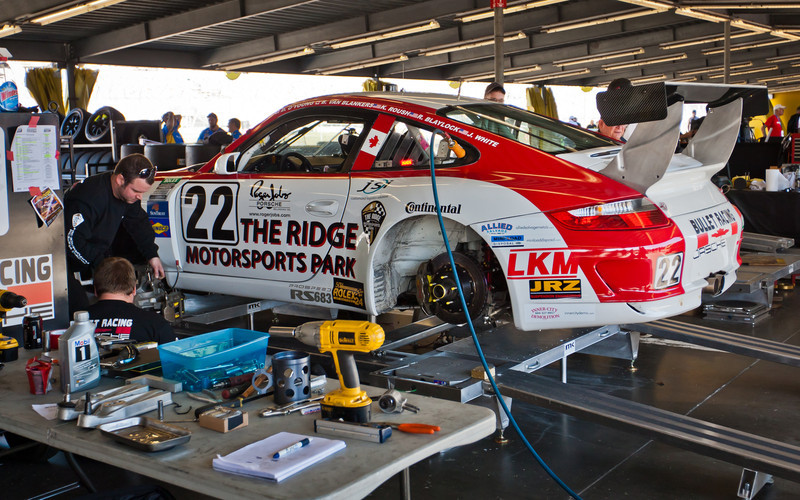 Pre-race setup  of Bullet Racing Porsche GT3