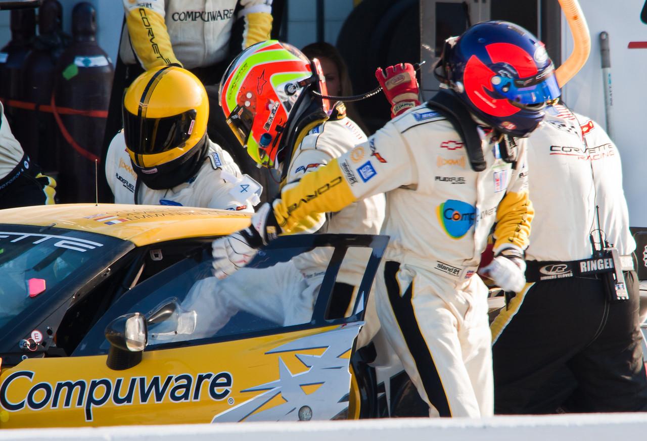 Olivier Baretta and Oliver Gavin Switch during Corvette Stop