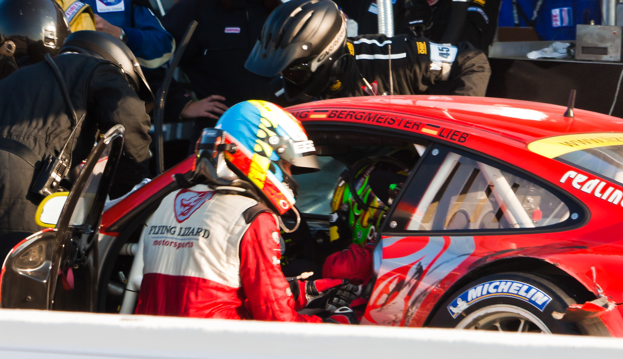 Bergmeister and Long exchange during Flying Lizard stop