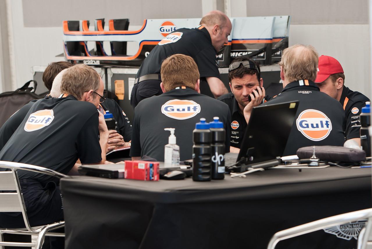Gulf/Hackett Aston Martin Team strategy discussion