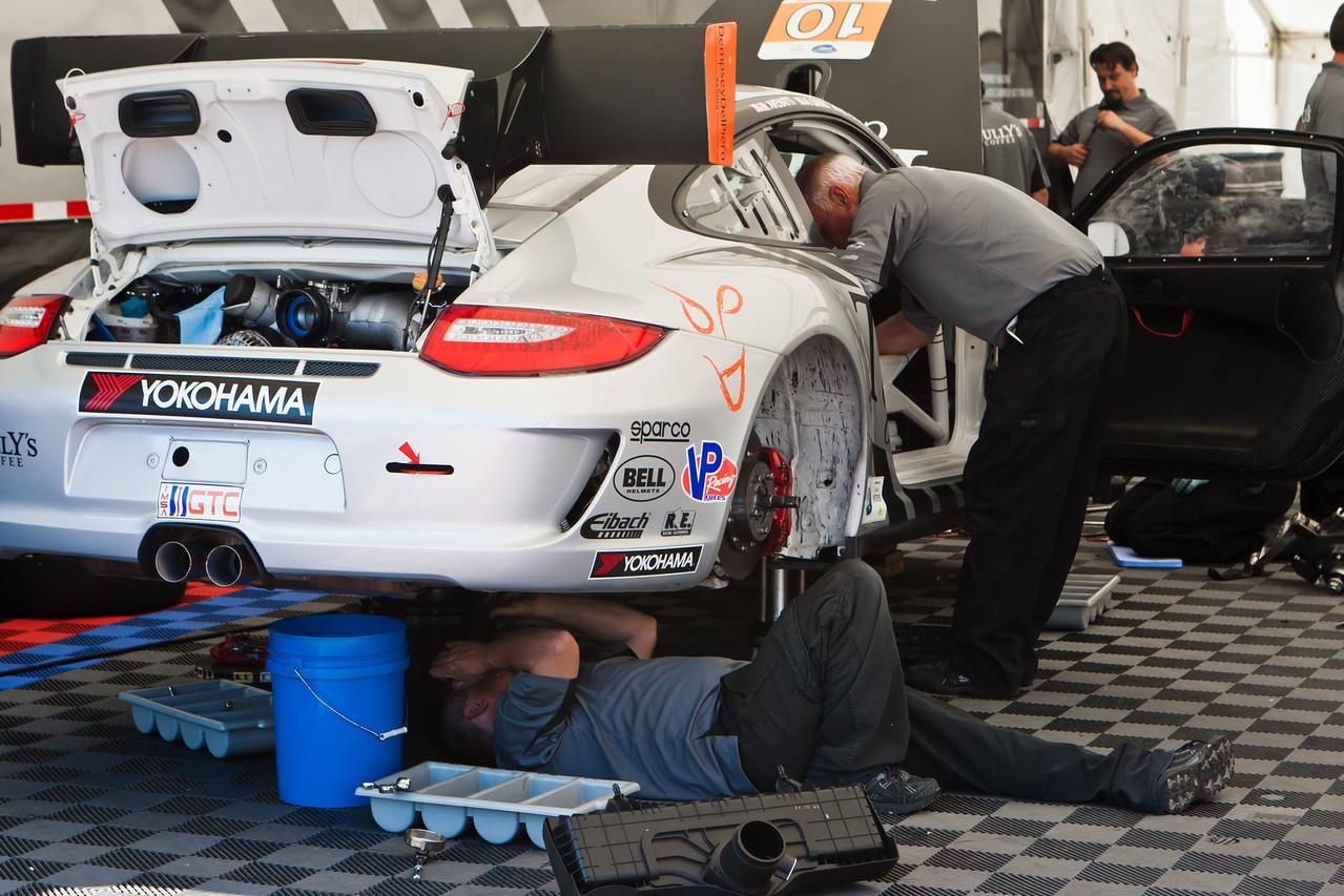 Dempsy Racing crew prepping #10 Porsche GT3 Cup GTC class entry