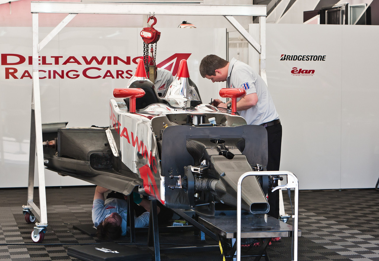 Deltawing car being prepped in paddock