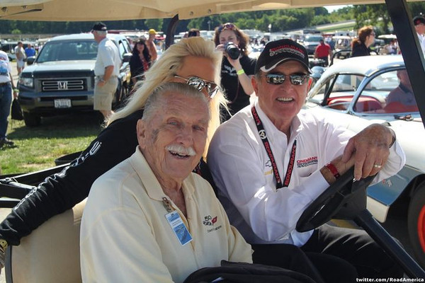 Dick Guldstrand  with Bob and Pat Bondurant