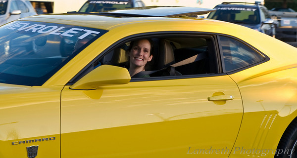 My beautiful wife driving Bumblebee.