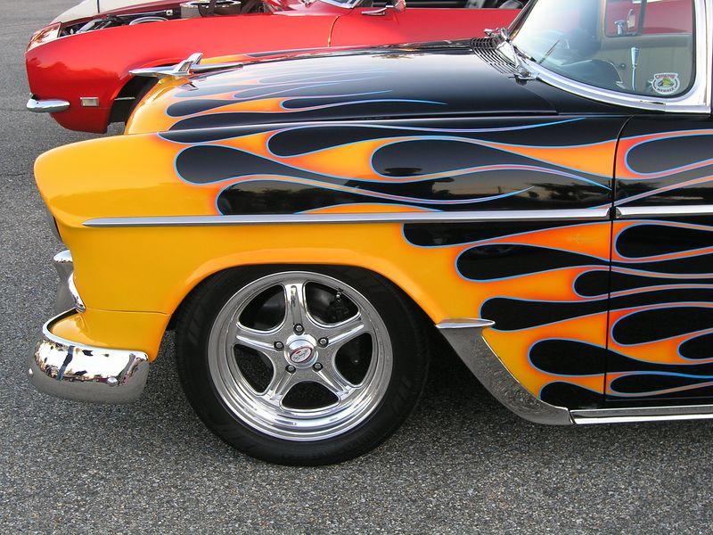 Black 1955 Chevrolet with Orange Flames (p8070524-C.jpg)
