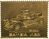 22K gold foil stamp from Zambia featuring 1907 Silver Ghost