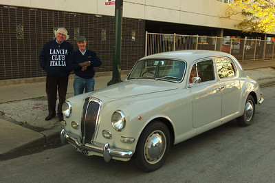 Stanchatti (Treasurer of Lancia Club Italia) and Marcello Minerbi in front of Marcello's totally original B12 sedan.