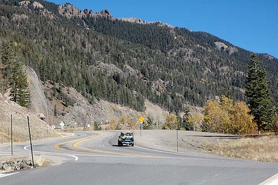 US-160, looking toward the summit of the 10,823 ft Wolf Creek Pass, which crosses the Continental Divide. This is the entrance to the scenic overlook on the Pagosa Springs side (west) of the pass.
