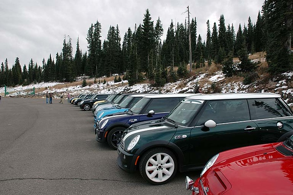 Line up for the requisite photo (Wolf Creek Ski Area).