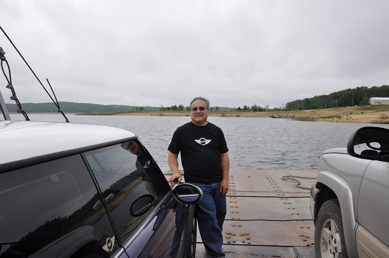 Rick in the front of Peel's Ferry, for the return trip (after unloading then reloading).