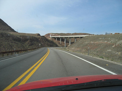 Going under the new highway leading to the upcoming new bridge to bypass Hoover Dam.