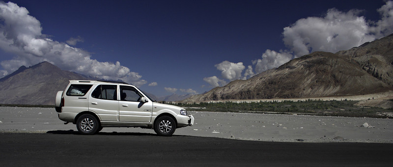 Near Diskit in Nubra valley. The morning is young and Wari La is waiting