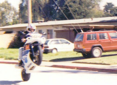 This is not a picture of me not doing a wheelie on a motorcycle that didn't belong to me.