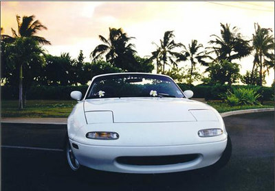 """It doesn't get much more """"chick car"""" than this, does it? Now consider the rainbow Hawaii license plate to the back bumper, and the fact that I was also in my hair highlighting phase a the time...  let's just say I got some funny looks from time to time.  Fortunately, I could claim that this car was Chrissie's.  Even had her convinced that it was.  But it was a blast to drive! (when she let me)"""
