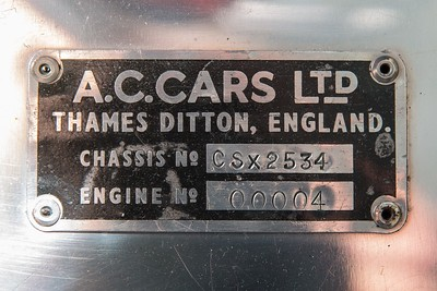 1964 AC Shelby 289 Cobra chassis plate