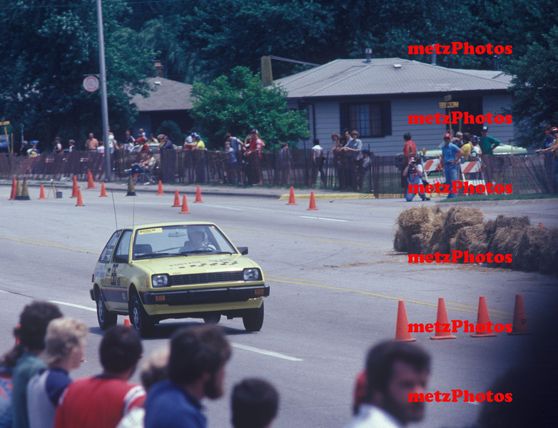 Bob Monday running at Portage on the streets in 1981, he was reigning national champion in G stock at the time in his Dodge Colt.