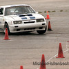 Curtis McGill driving his Mustang through the course Sunday afternoon set up at the GM Powertrain Bay City parking lot.