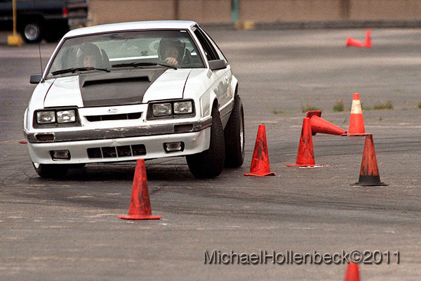 Josh's car..... his Mustang in between runs Sunday afternoon at the GM Powertrain Bay City parking lot.