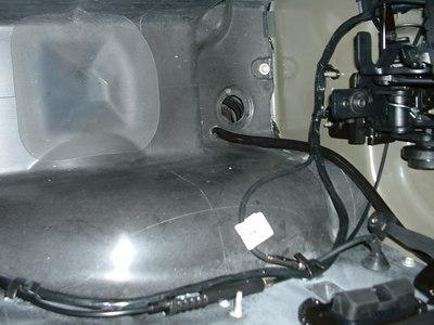 Passenger's side of trunk tub (carpet removed)