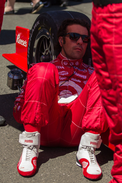 Dario Franchitti finding some peace on the grid before the race