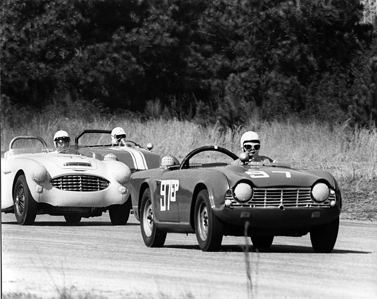 Photos from a sports car race in Texas, 1960. Photos made by Dale V. Monaghen with a Nikon F camera and 400mm lens. (Race #1).
