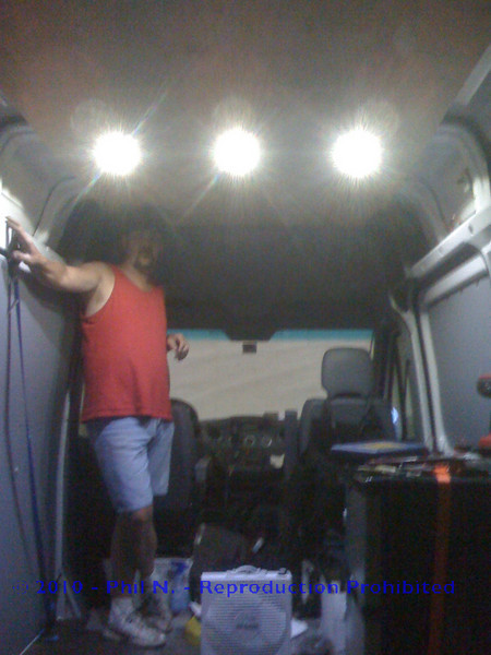 """This is the finished LED install - My brother the """"fabmaster"""" standing proudly by his accomplishment!!"""