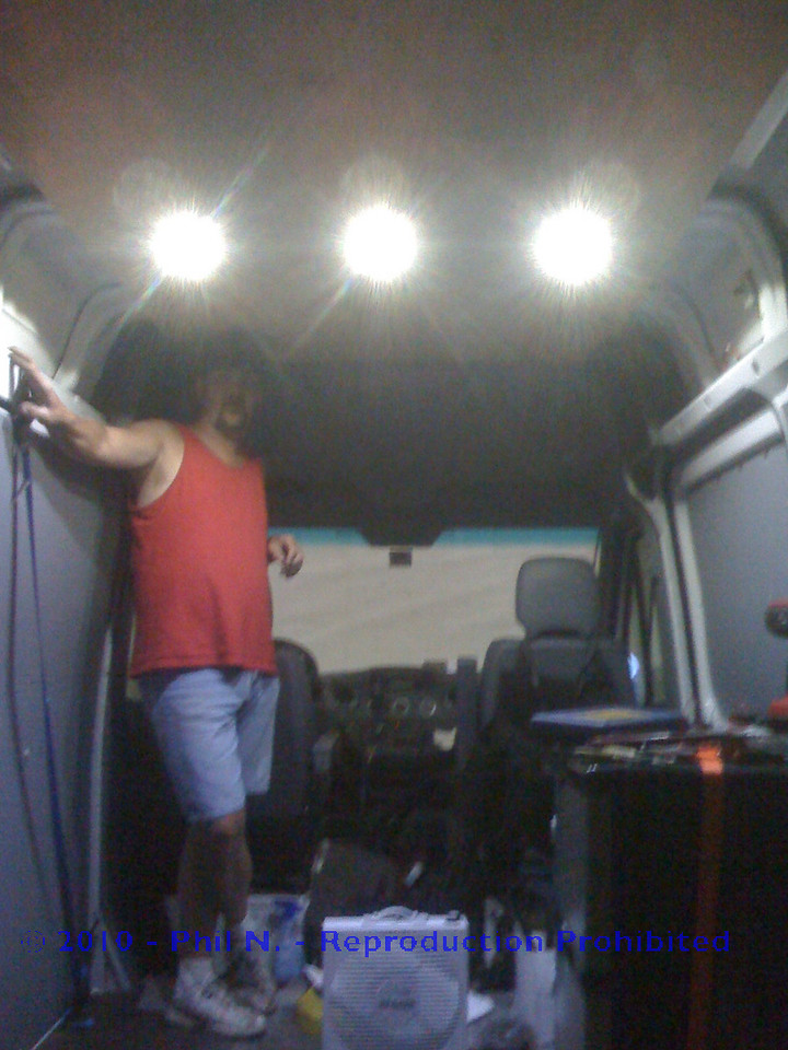 "This is the finished LED install - My brother the ""fabmaster"" standing proudly by his accomplishment!!"