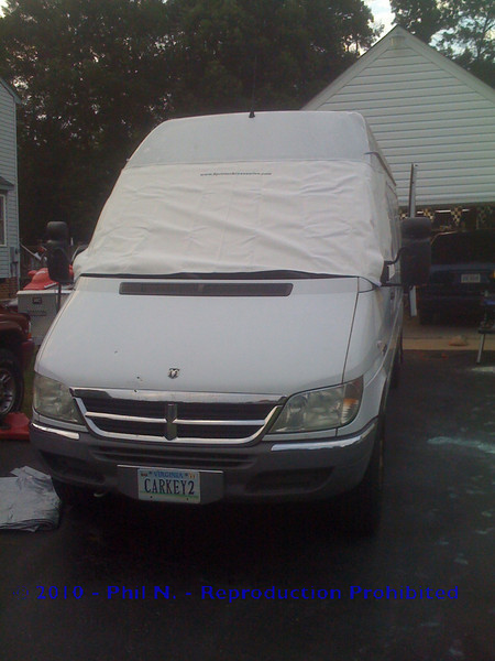 """Test fit of the outside cover from <a href=""""Http://www.sprinteraccessories.com"""">Http://www.sprinteraccessories.com</a> - Does a VERY nice job, goes up easily, comes down easily!"""