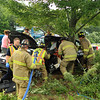 This accident happened at Interstate 190 at Exit 6.  The car was heading southbound and left the road and hit the tree.  It took Firefighters 40 minutes to extricate victim from the auto.  He then was transported to the trauma center in Worcester with serious injuries.<br /> <br /> Photo Scott LaPrade