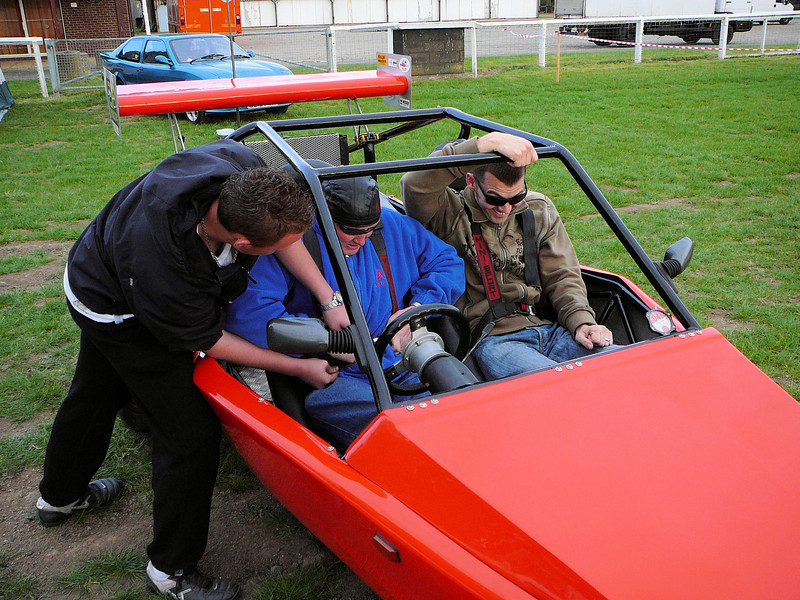 fugieian gets strapped in before taking Knighty out for a spin.