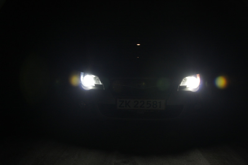 LED on the Left, stock bulb on the Right