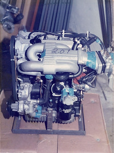 Oettinger 2.0 liter VW hi-perf engine. We experimented importing Oettinger engines and components from Germany. Built up an Oettinger equipped black Sirroco for promotion. Oettinger was the best for VW performance. Feb 1985