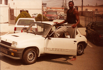 Wilt Chamberlain trying out an R5 Turbo. 1983 August. Wilt was very special friend from volleyball and a car guy. We took care of his Lamborghini Countach 5000 S chassis No. ZA9C00CLA 12488 and Ferrari 400 chassis No. F 101 CL  *35033*