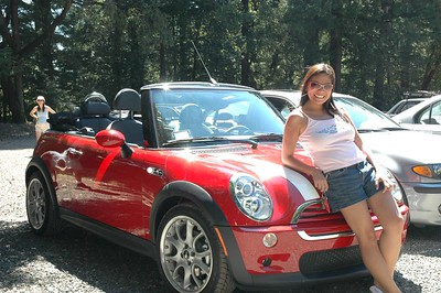 Hot Arlene with her hot new Mini Cooper S converible