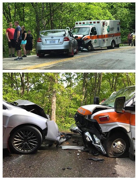 Subbie driver crossed over into EMS vehicles lane. EMS was responding to cyclist down on the Dragon. No cell phone service and in a remote area. Really caused a tremendous delay in rendering life saving to motorcyclist.