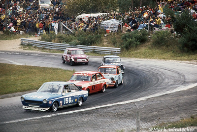 #156-George Battaglin Fiat 124S #0-Tom Wright Satsun 1200 #949?? #250-Peter Young Cooper S #70-Guy Reynolds Cooper S