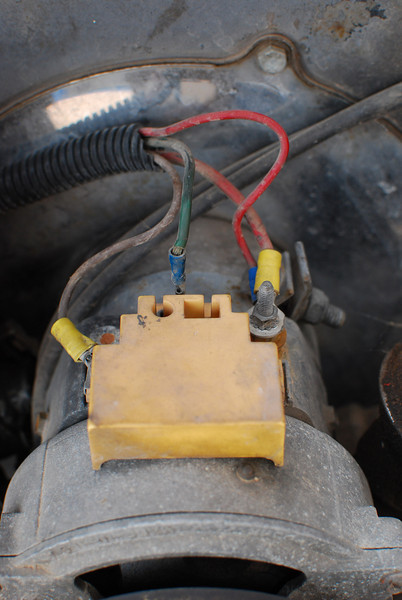 Internally regulated alternator hooked up with two extra wires.