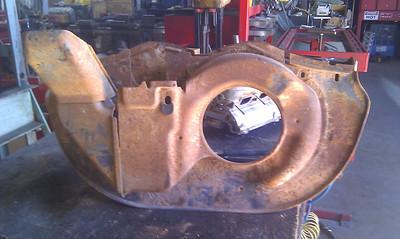Dog house fan shroud from junk yard.