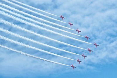 The RAF Red Arrow Flypast