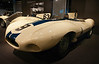 On introduction in 1954, the D-type showed respectably finishing second behind a much larger Ferrari 375 at LeMans. <br /> <br /> The next year they came back with an extended nose (almost eight inches longer) and took first which they repeated the following two years.<br /> <br /> This car DNF in '55 and was bought by Briggs Cunningham who campaigned it very successfully in the US with drivers Sherwood Johnston and Walt Hansgen.<br /> <br /> 1955 Jaguar D-type<br /> Serial No. XKD507<br /> Six-cylinder in-line engine, double overhead camshafts, two valves per cylinder, three dual-throat Weber carburetors, 3442 cc (210 cubic inches), 270 hp at 6000 rpm.