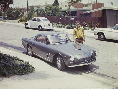 Maserati 3500 GTi safely arrived. Parked outside our family home at 812 - 11 St. Manhattan Beach, California.  Do not know who the person is.  Interestingly, years before when my only vehicle was a bicycle the neighbor two blocks west had a similar car.