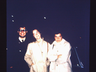 Paris girl friends. We were so cool. Parked the Maserati on the Champs Elysee. Wonder what they really thought of us. We were 22 years old. Bob's wearing dark glasses because that's all he had after breaking his regular glasses.