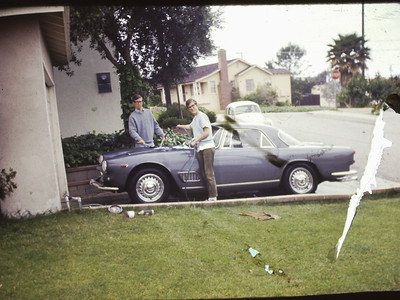 Maserati 3500 GTI at new home Manhattan Beach. Tom and Mark cleaning after servicing it in our dad's garage before taking a night time run through the LAX / Sepulveda tunnel at 100 + mph.
